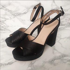 Urban Outfitters black satin finish platform heels